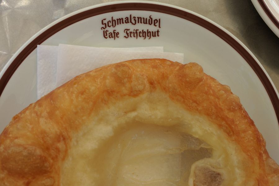 A schmalznudel at Schmalznudel Cafe Frischhut in Munich, Germany.