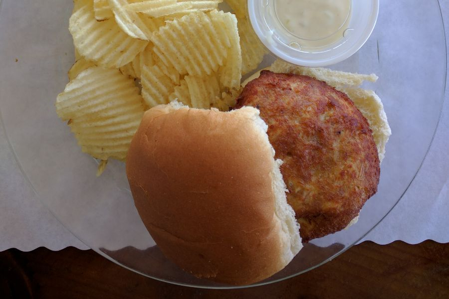 Crab cake sandwich at the Bayside Inn in Ewell on Smith Island.