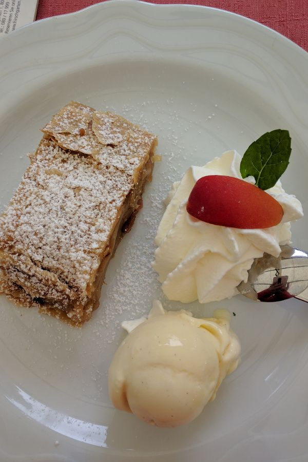 Apfelstrudel from Hirschgarten in Munich, Germany.