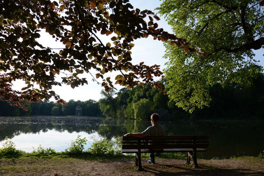 Sitting at Badenburg at sunset at Nymphenburg in Munich, Germany.