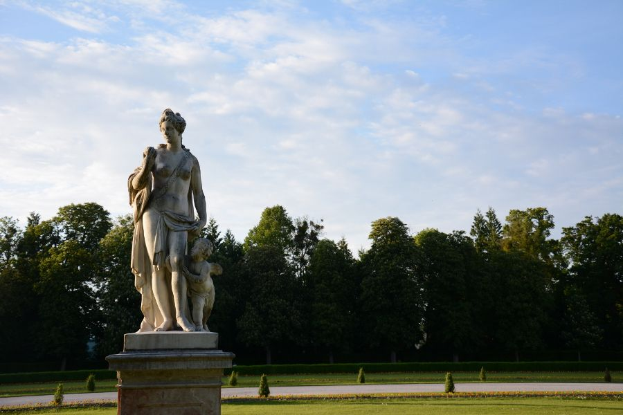 Statue at Nymphenburg Park Garden in Munich, Germany.