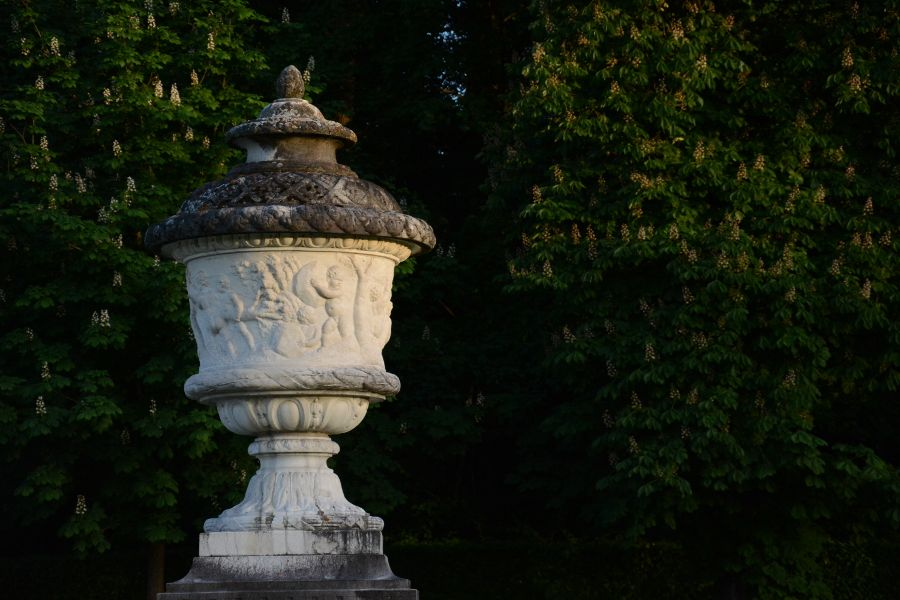 Urn statue at Nymphenburg Palace in Munich, Germany.