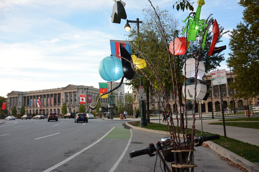 Inside a Cai Guo-Qiang: Fireflies pedicab in Philadelphia.