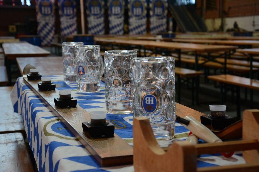 Prost! Shotskis and glass Krug at Brauhaus Schmitz Oktoberfest.