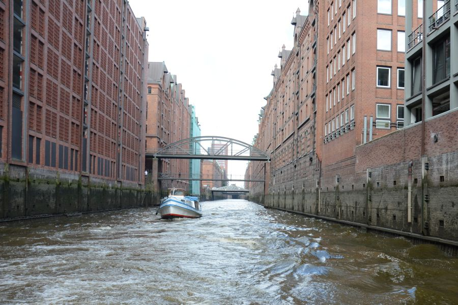 Cruise through the canals of the Speicherstadt in Hamburg, Germany.