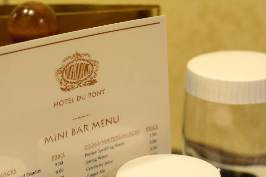 Hotel Du Pont mini bar menu.