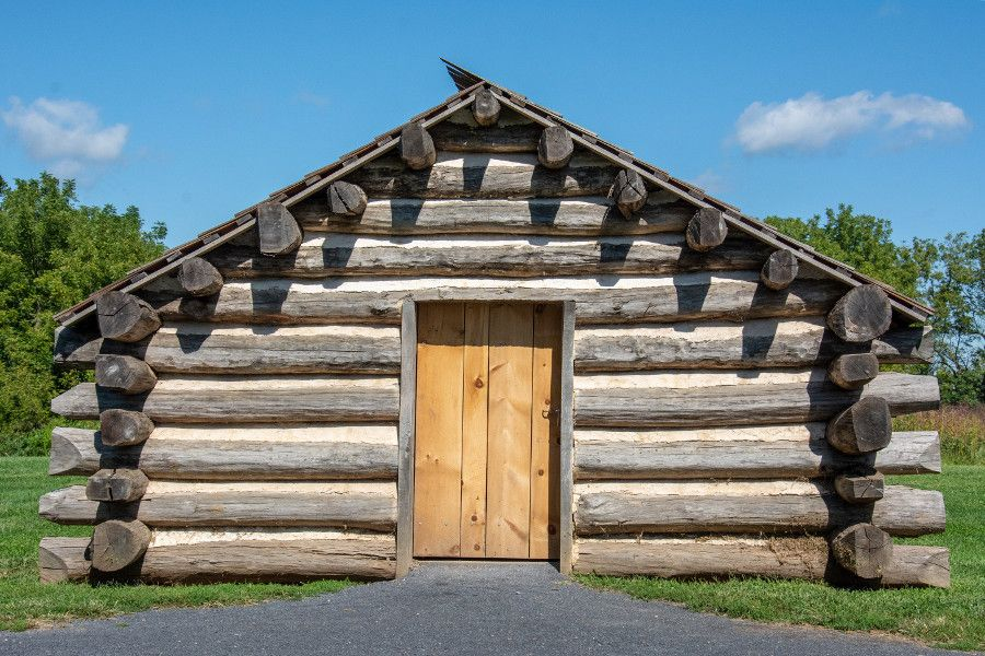 A log cabin close up at Valley Forge.