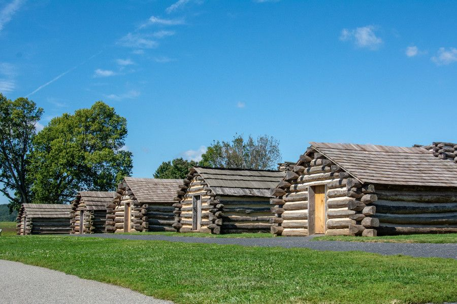 A line of log cabins at Valley Forge.