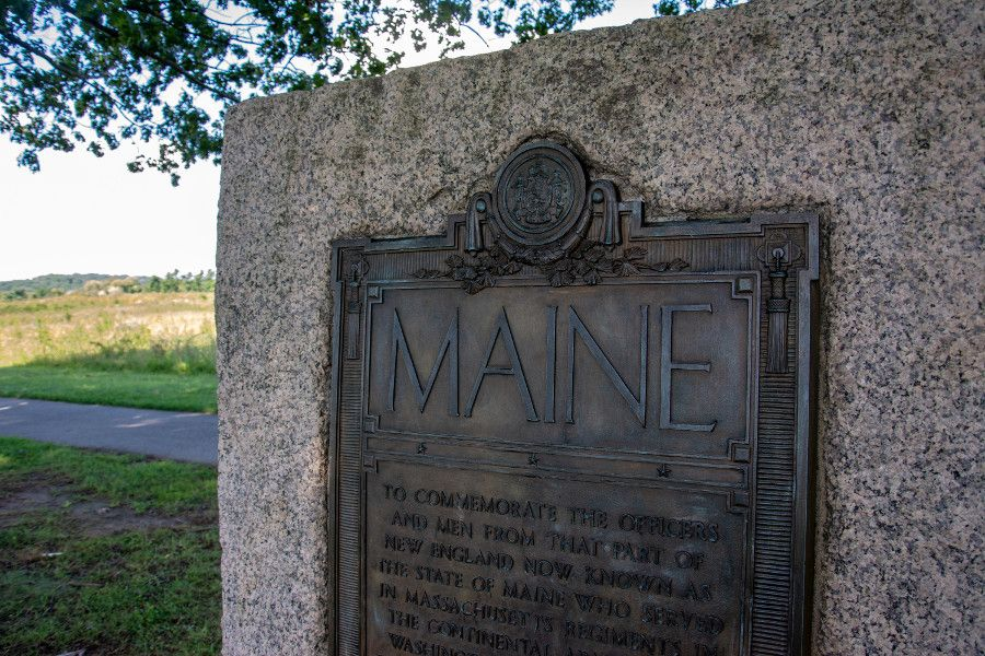 A monument honoring Maine at Valley Forge.