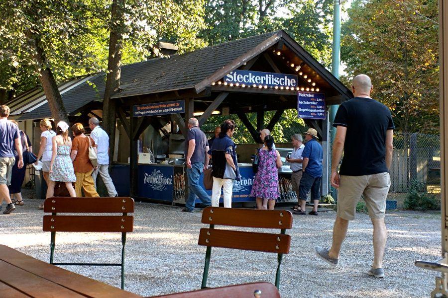 The Steckerlfisch stand at Hirschgarten in Munich, Germany.