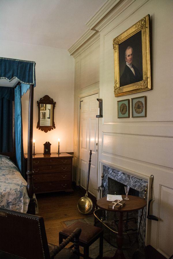 Bedroom in the Corbit-Sharp House in Historic Odessa, Delaware.