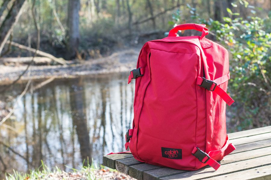 Close up of the CabinZero 36L Classic Ultra-Lightweight backpack.