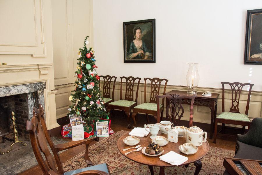Christmas tree in Corbit-Sharp House in Historic Odessa, Delaware.