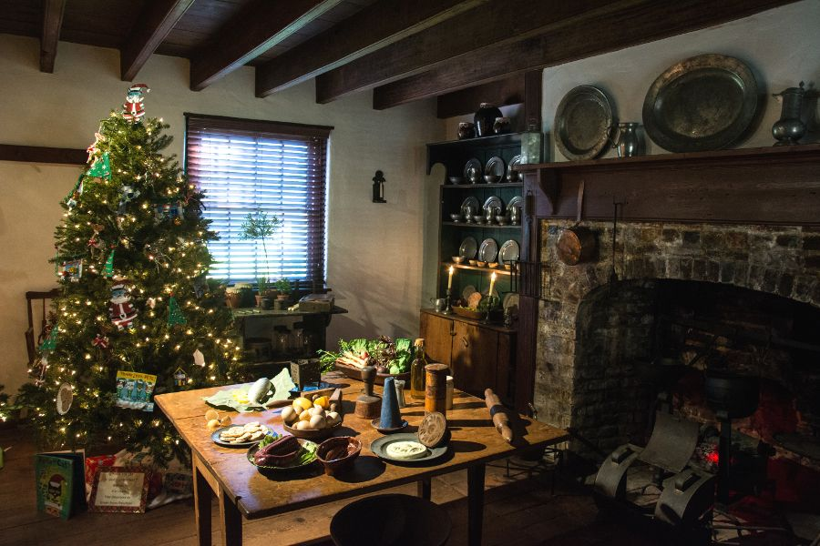 Kitchen decorated for Christmas in the Collins-Sharp House in Historic Odessa, Delaware.