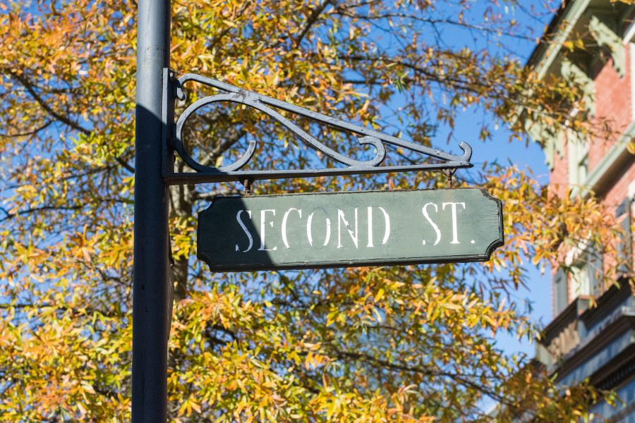 Second Street sign in Historic Odessa, Delaware.