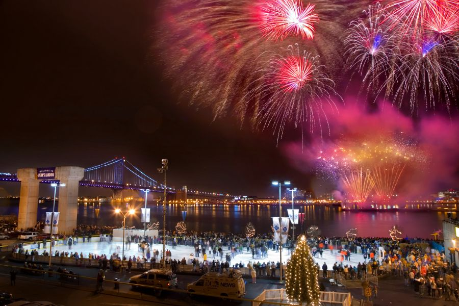 New Year's Eve in Philadelphia with fireworks along the Delaware Waterfront.