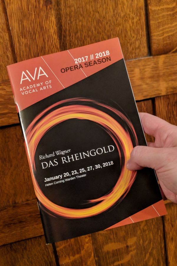 Program for Academy of Vocal Arts production of Richard Wagner's Das Rheingold in Philadelphia.