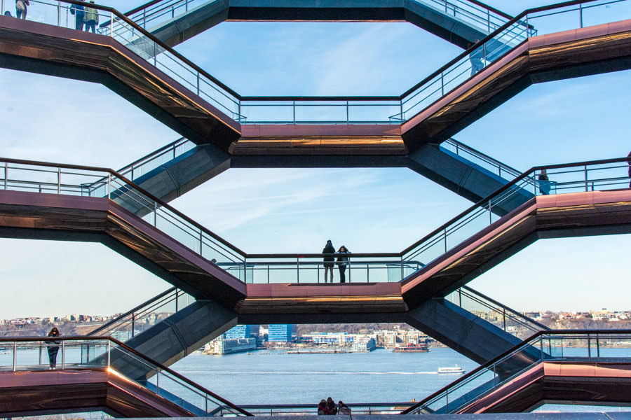 Be sure to wear comfortable shoes to climb the stairs of The Vessel in Hudson Yards, NYC.