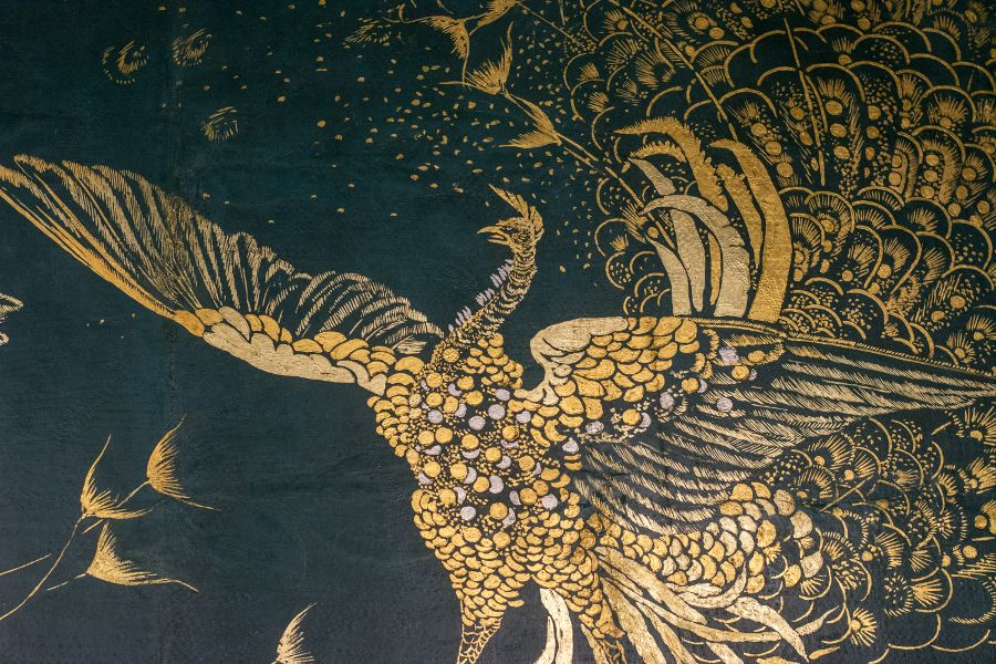 Peacock wall mural in the James McNeill Whistler's Peacock Room at the Freer|Sackler Galleries in Washington, DC.