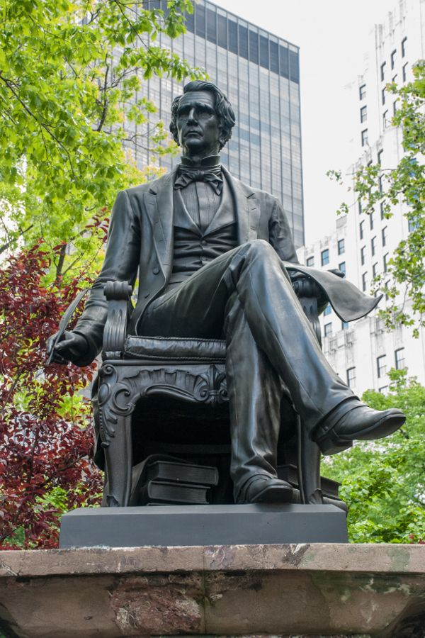 A sculpture of William Henry Seward in Madison Square Park in New York City.