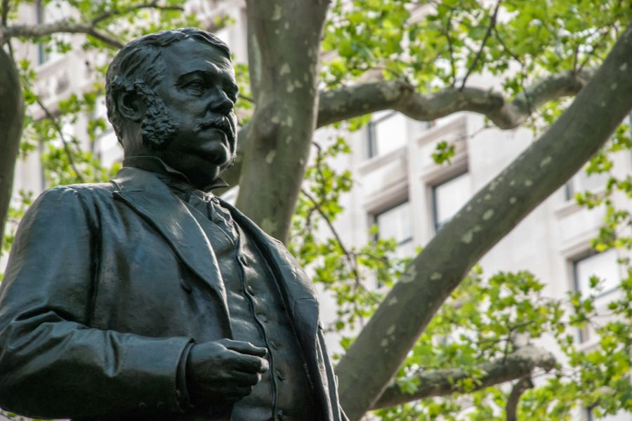A sculpture of Chester A Arthur in Madison Square Park in New York City.