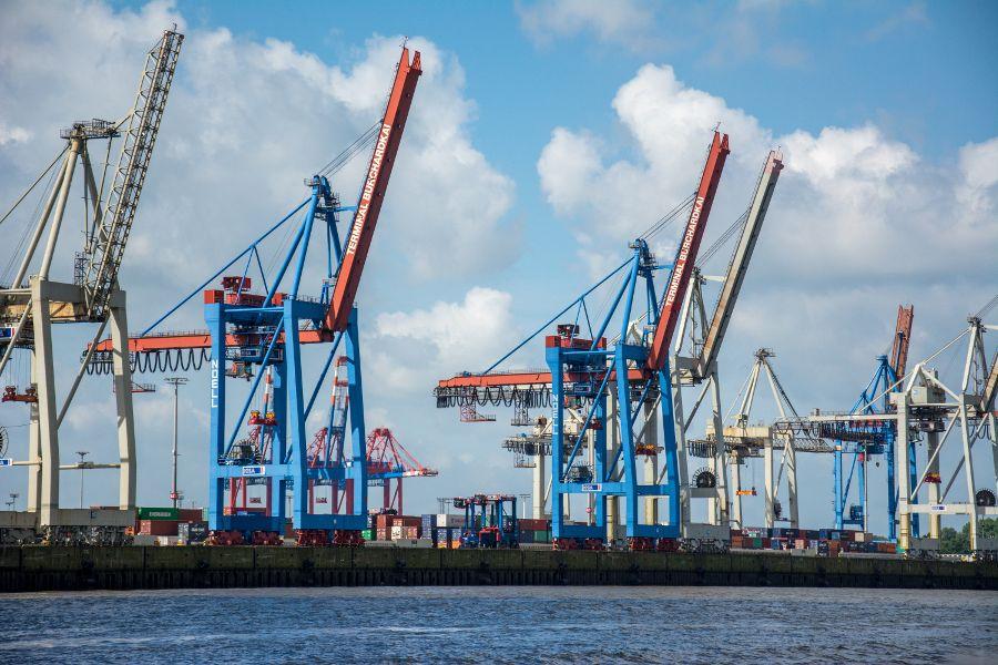 Cranes at Terminal Burchardkai in Hamburg Harbor, Germany.