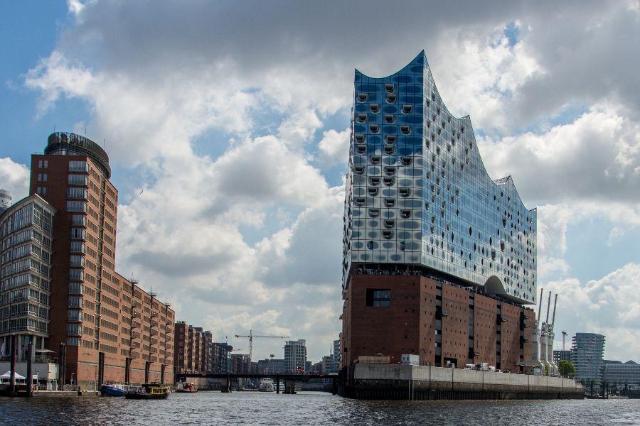 Elbphilharmonie in Hamburg Harbor in Germany.