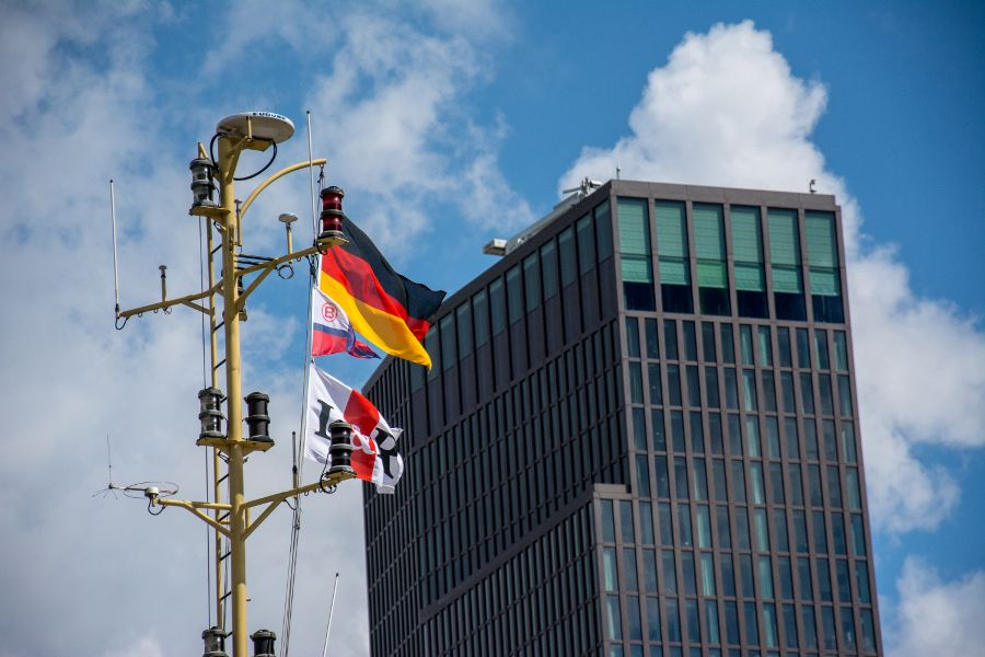 Flags at Hamburg Harbor in Germany.