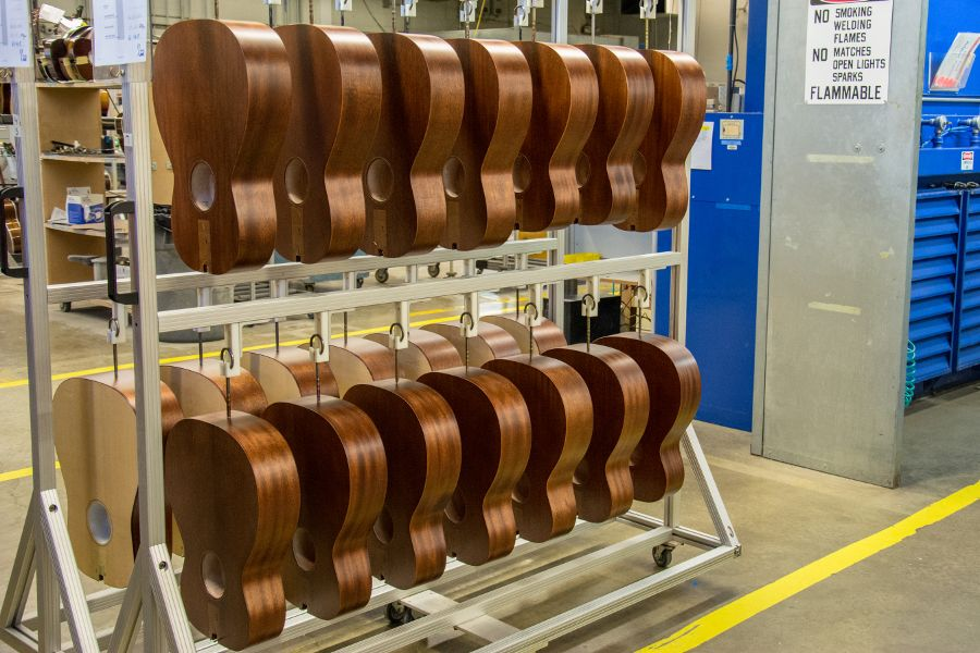 Guitar bodies hanging at the Martin Guitar factory.