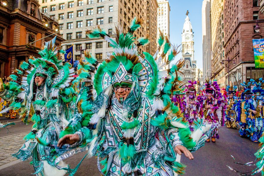 Mummers strut during Philadelphia's Mummers Parade on New Year's Day.