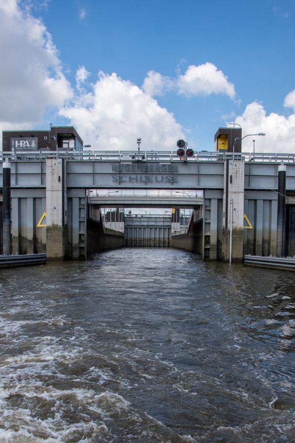 Rugenberg Lock (Rugenberger Schleuse) in Hamburg Harbor.