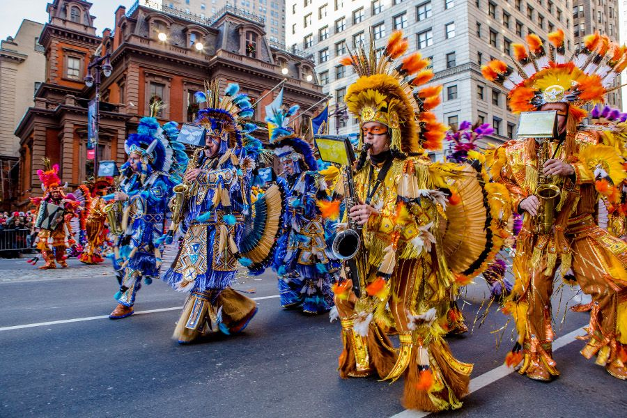 Mummers perform during Philadelphia's Mummers Parade on New Year's Day.