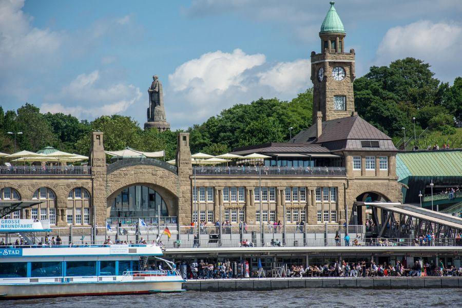 Waterfront at Landungsbrücken in Hamburg, Germany.