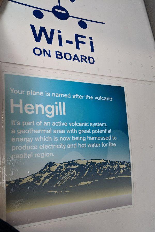 Each Icelandair plane has a name. This is Hengill.