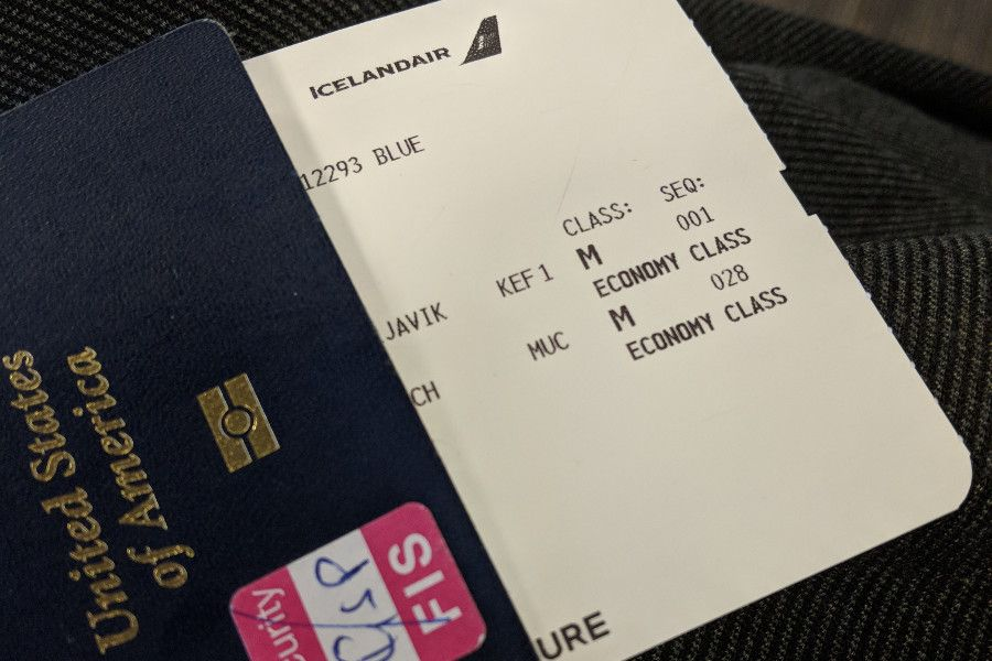Airplane ticket to fly Icelandair from Newark, New Jersey to Munich, Germany.