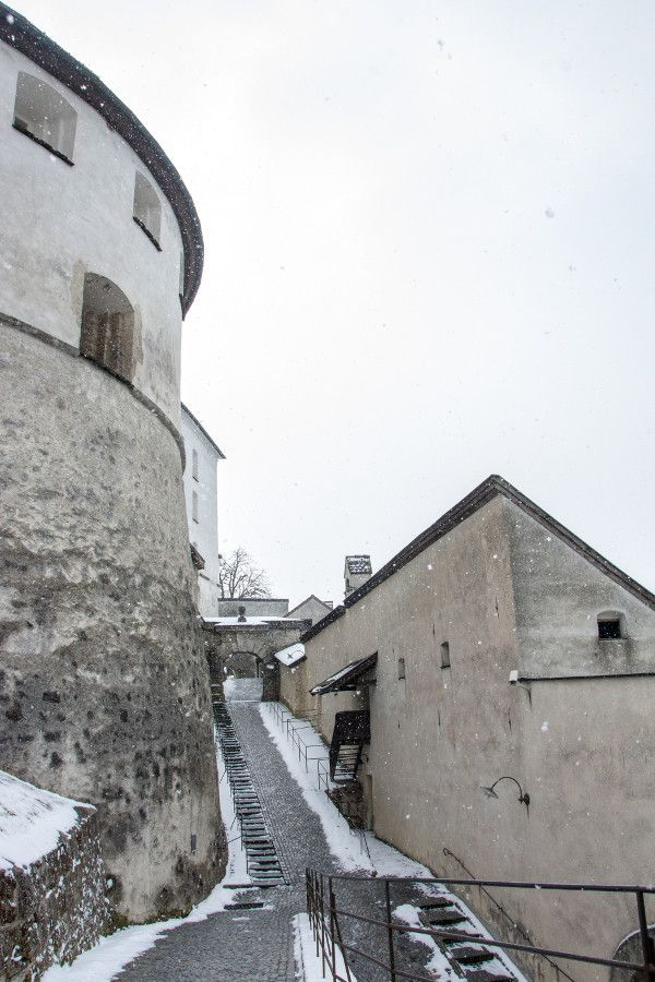 View into Kufstein Fortress from a tower.