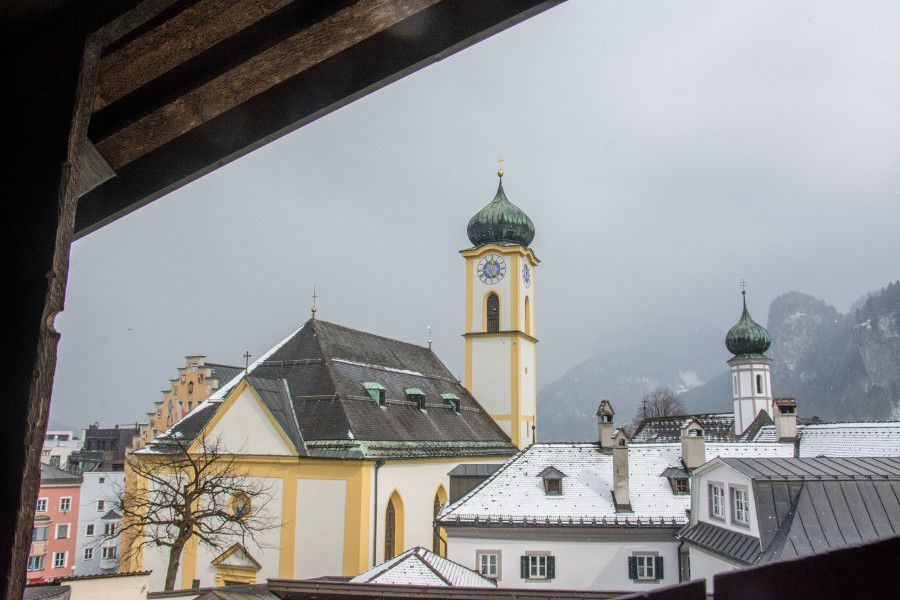 The view onto a church from Festung Kufstein in Austria.