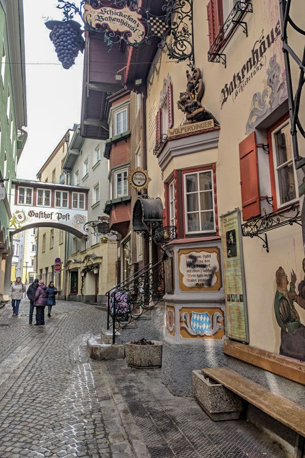 Walking through the charming streets of the town of Kufstein in Austria.