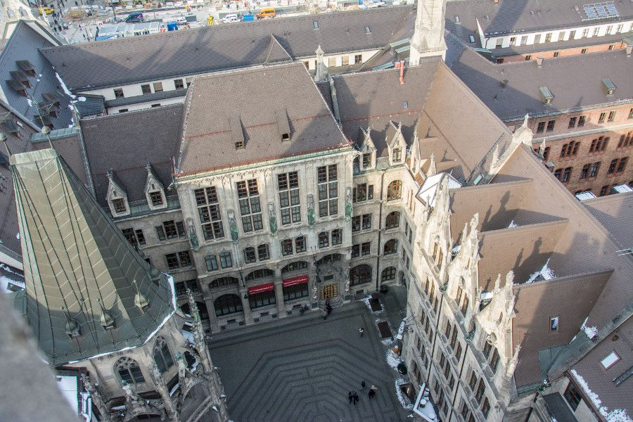 The view into the Rathaushof or City Hall Courtyard from Munich's Neues Rathaus tower observation deck.