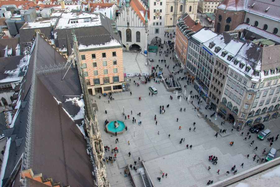 The view onto Marienplatz from Munich's Neues Rathaus tower observation deck.