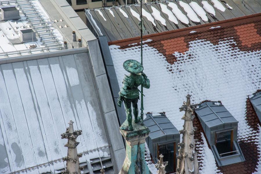 A statue detail on the roof of Munich's Neues Rathaus, or City Hall.