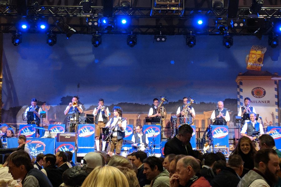 The band Die Kirchdorfer perform at Starkbierfest at Paulaner am Nockherberg in Munich, Germany.
