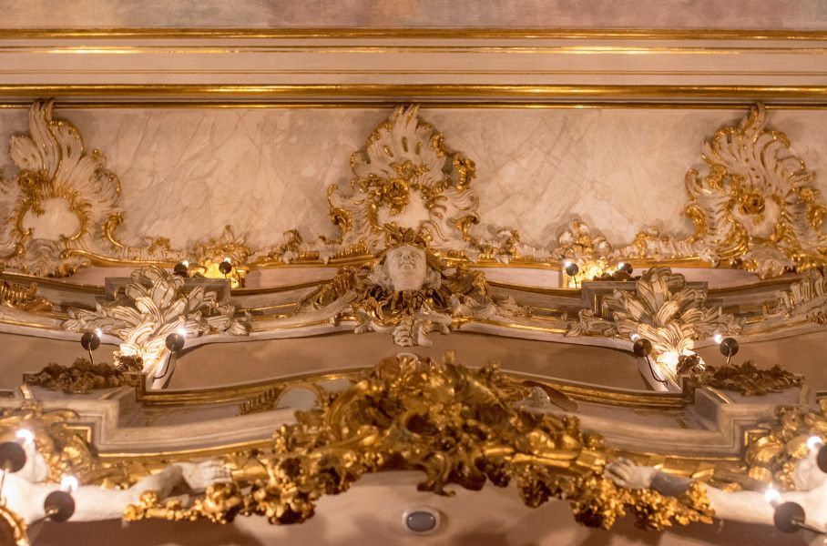 Looking up to the ceiling at the Cuvilliés Theatre in Munich, Germany.