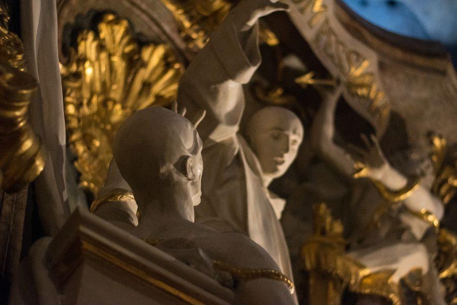 A sculpture inside the Asamkirche in Munich, Germany.