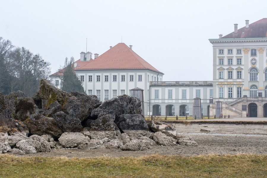 The fountain at Nymphenburg Palace is emptied for winter in Munich, Germany.