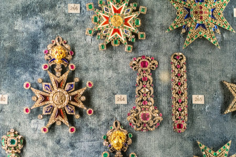 Jewel-encrusted medals at the Munich Residenz Schatzkammer.