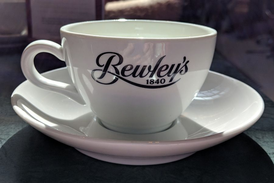 A tea cup at Bewley's Grafton Street Cafe in Dublin, Ireland.