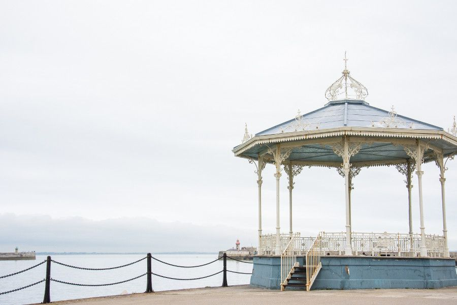 The bandstand along the harbor of the East Pier in Dún Laoghaire, Ireland.