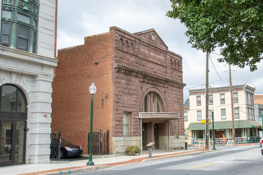 Historic buildings line the street in Midtown Harrisburg, Pennsylvania.