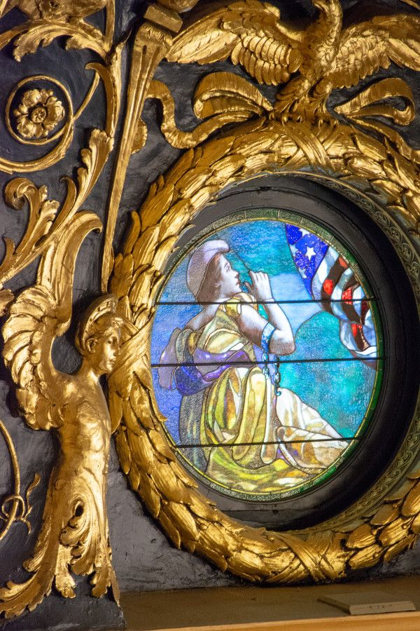 Stained glass window in the House of Representatives Chamber of the Pennsylvania Capitol Building in Harrisburg.
